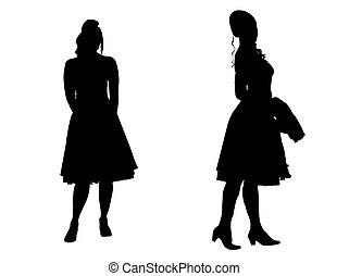 Mujeres jóvenes, silueta