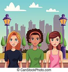 Mujeres jóvenes y hermosas