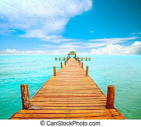 mujeres, méxico, embarcadero, concept., vacaciones, isla, turismo