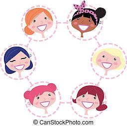 Mujeres multiculturales, grupos aislados en blanco