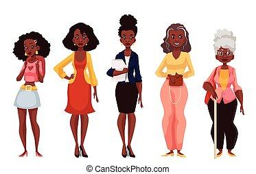 Mujeres negras de diferentes edades de juventud a madurez