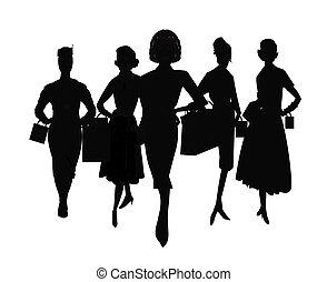 mujeres, silueta, compras