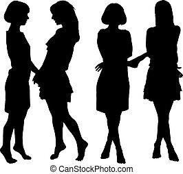 mujeres, silueta, dos, esbelto, joven