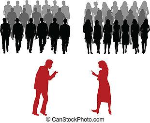 Mujeres y hombres, un gran grupo de personas