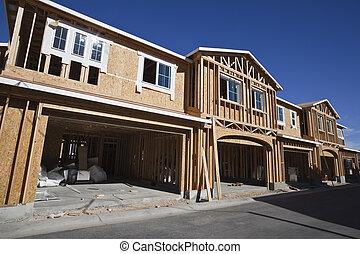 multi, construcción, caja, familia , encuadrado