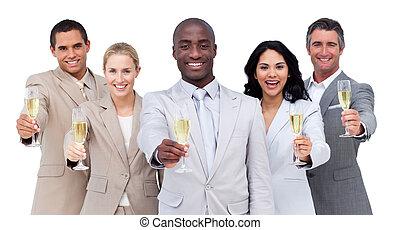 multi-cultural, retrato de equipo, empresa / negocio, champaña, bebida