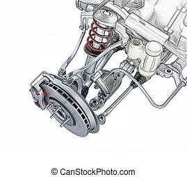 multi, d, transformar, drawing., coche, efecto, interpretación, mano, 3, enlace, perspectiva, bosquejo, frente, vista., brake., photorealistic, suspensión