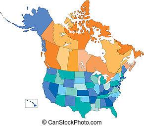 multi, estados, canadá, estados unidos de américa, colores, provincias