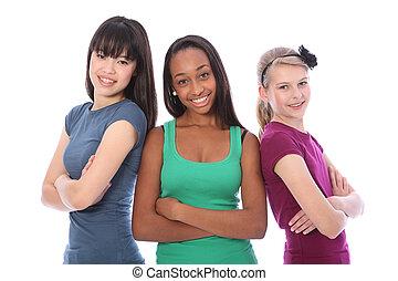 multi, grupo, adolescente, escuela, cultural, novias