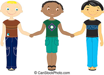 multi, nacionalidad, racial, boys., espalda, niños, blanco