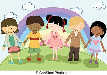 Multi niños étnicos
