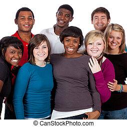 multi-racial, estudiantes, blanco, colegio