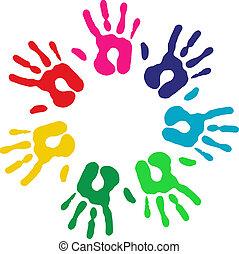 Multicolor de manos en círculo