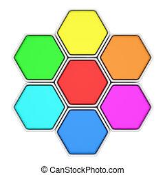 multicolor, hexágonos
