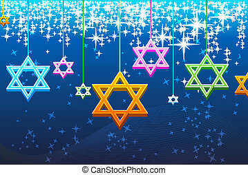 multicolorful, tarjeta, hanukkah