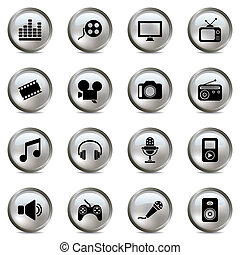 multimedia, conjunto, plata, iconos