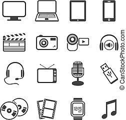 multimedia, icono, conjuntos