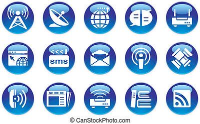 multimedia/communication, conjunto, icono