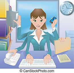 multitáreas, corporación mercantil de mujer, ilustración