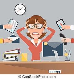 multitáreas, oficina, empresa / negocio, vector, enfatizado, trabajo, place., ilustración, mujer