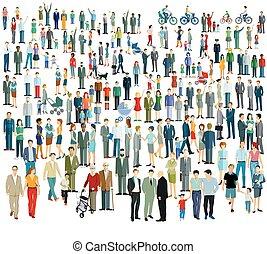 multitud, diferente, people.eps, grande