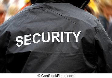 multitud, espalda, confuso, guardia, frente, seguridad