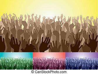 multitud, manos, su, arriba