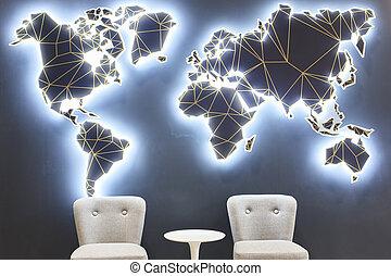 mundo, aeropuerto, viajero, área, salón, map., empresa / negocio, esperar