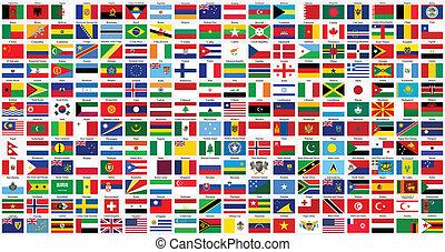 mundo, alfabético, banderas