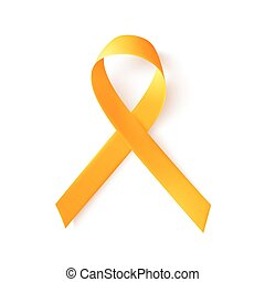 mundo, cáncer, niñez, 15, february., símbolo, realista, ribbon., oro