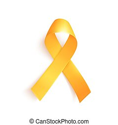 mundo, cáncer, niñez, 15, february., símbolo, ribbon., oro