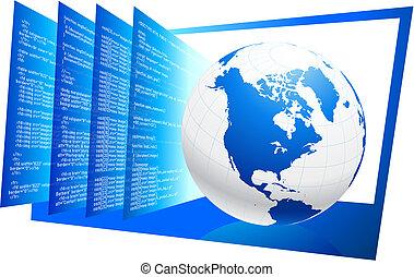 mundo, código, plano de fondo, de par en par, tela, html