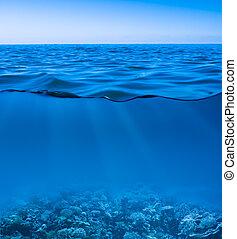 mundo, calma, claro, descubierto, submarino, superficie, cielo, todavía, agua de mar