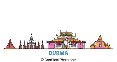 mundo, cityscape, oultine, señal, viaje, línea, vector., ciudad, ilustración, plano, birmania, iconos