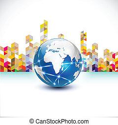 Mundo con concepto de comunicación y edificio de ciudad abstracta