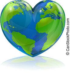 mundo, concepto, adore corazón