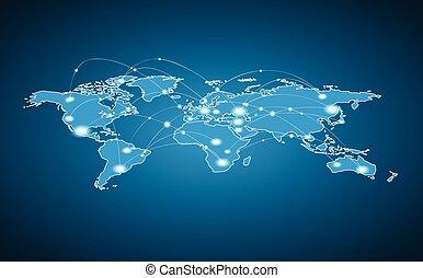 mundo, conexión, global, -, mapa