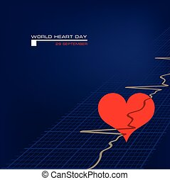 mundo, corazón, cartel, día