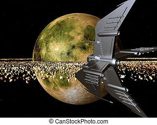 mundo, distante, nave espacial