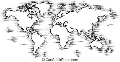 mundo, estilo, grabado, viejo, woodcut, mapa, dibujo