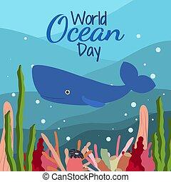 mundo, lindo, plano de fondo, corals., océano, esperma, azul, alga, estilo, ballena, caricatura, día