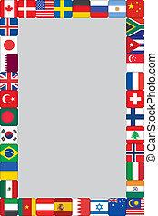 mundo, marco, banderas, iconos