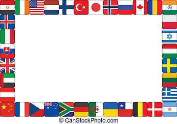 mundo, marco, hecho, bandera, iconos