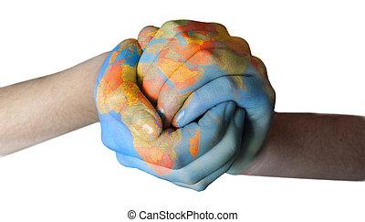 Mundo pintado en manos