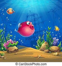 Mundo submarino con divertida imagen de vector de peces rojos