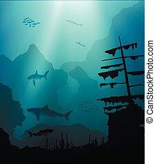 Mundo subterráneo con tiburones y barcos hundidos