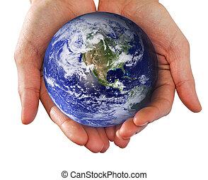 mundo, tenencia de la mano, manos humanas