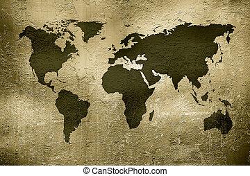 mundo, textura, mapa, grunge, metal, encima