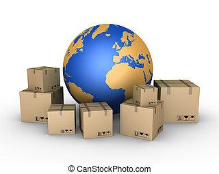 mundo, todos, encima, embarque, paquetes