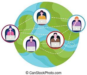 mundo, trabajando, conexión, computador portatil, gente